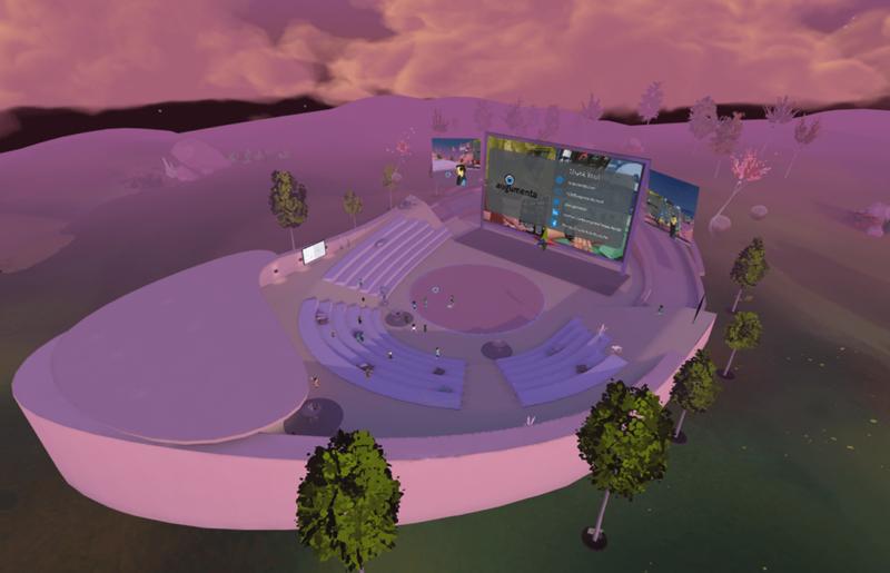 An air shot of VR Pavilion Finland's Aurora Amphitheatre. Opens in lightbox.
