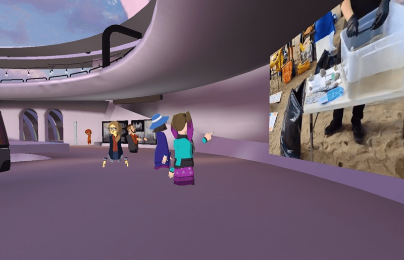 Avatar people at the hallways of VR Pavilion Finland.  Opens in lightbox.