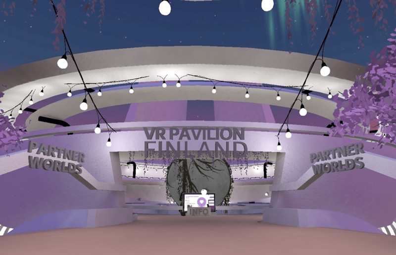 Entrance to VR Pavilion Finland's Partner Worlds. The building and the environment are in moody lilac. Opens in lightbox.
