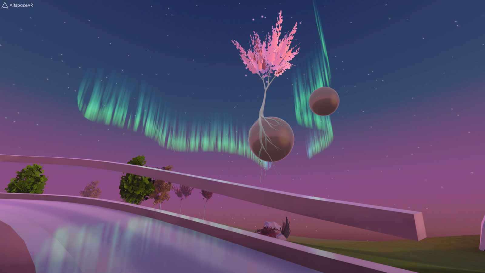 Virtual reality landscape from AltspaceVR. A tree with pink leaves is growing from a sphere hanging in the air, with Aurora Borealis in the background.