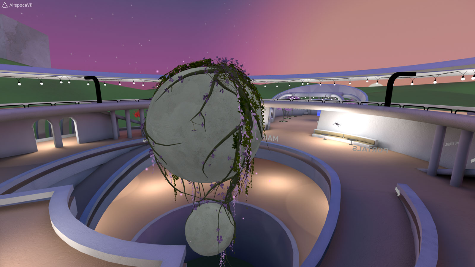 Match XR 2020 virtual event venue, VR Pavilion Finland's main hub, with a big stone-looking ball sculpture covered in blooming vines.