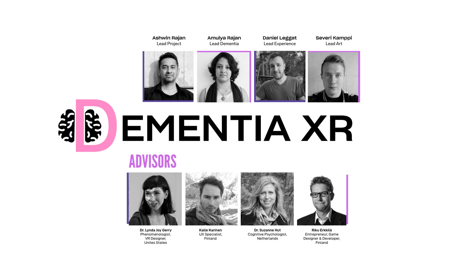 Collage of Dementia XR's team of four, and four advisors. Black-and-white images with Dementia XR logo in the middle.