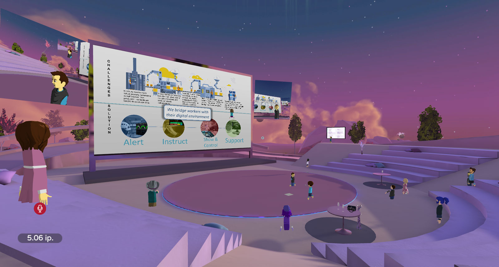 Lilac amphitheater in a virtual reality environment AltspaceVR. There is a big screen in the middle, with a presentation projected on it. Opens in lightbox.