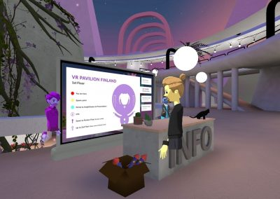Lilac virtual space in Altspace VR. An avatar person is standing in front of an information desk, two more next to VR Pavilion Finland info screen.