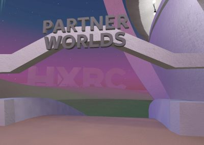 Lilac virtual reality space in AltspaceVR. An arch indicating an entrance to Partner Worlds.