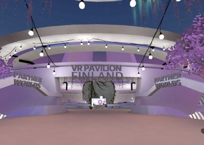 Lilac world in the virtual environment of AltspaceVR. There are signs indicating the entrance to VR Pavilion Finland and Partner Worlds.