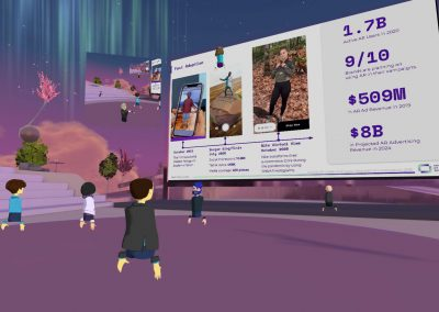 Lilac amphitheater in a virtual reality environment AltspaceVR. There is a big screen in the middle, with a presentation projected on it.