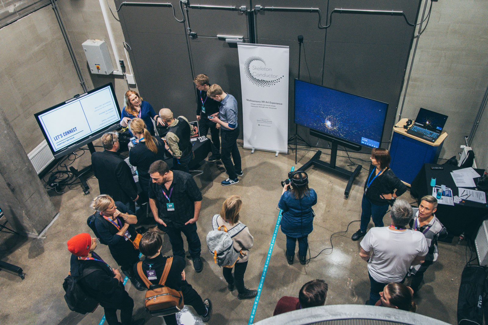 A great buzz of people at the booths of our XR Hub teams at Match XR 2019 on 20 November 2019.