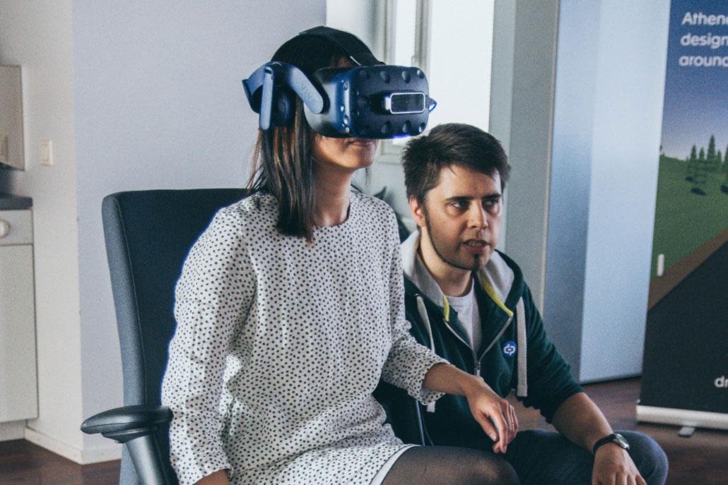 A woman testing a VR set.