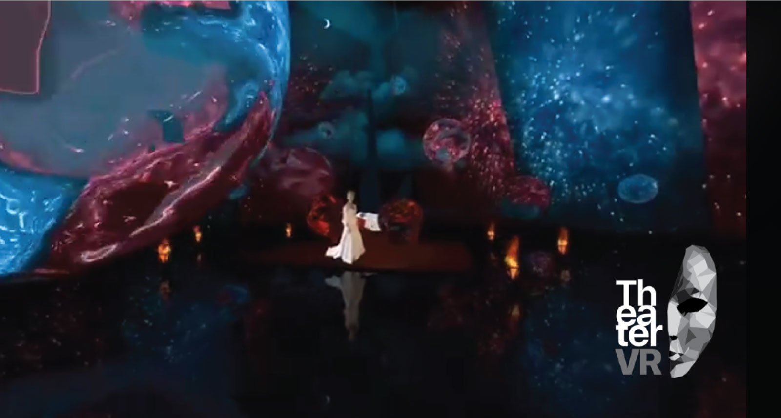 A woman in a white dress dancing in a virtual landscape.