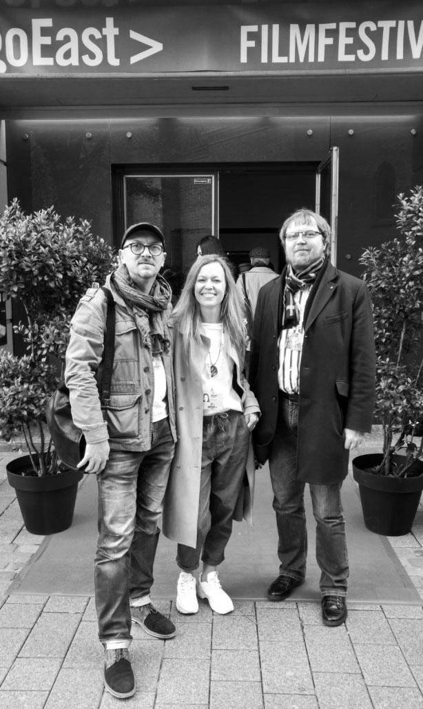 XR Hub team AXiiO VR Studios at Go East Film Festival. From the left: Oleg Nikoleanko, Elli Niaria and Daniil Bakalin.