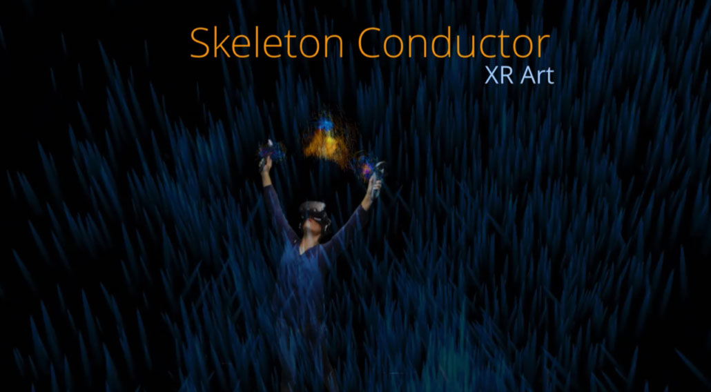 Promotional image for Skeleton Conductor XR Art. A person in a black void, controlling particles.