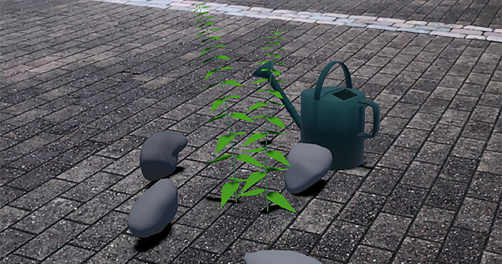 Virtual reality environment with a plant and watering can on the ground.
