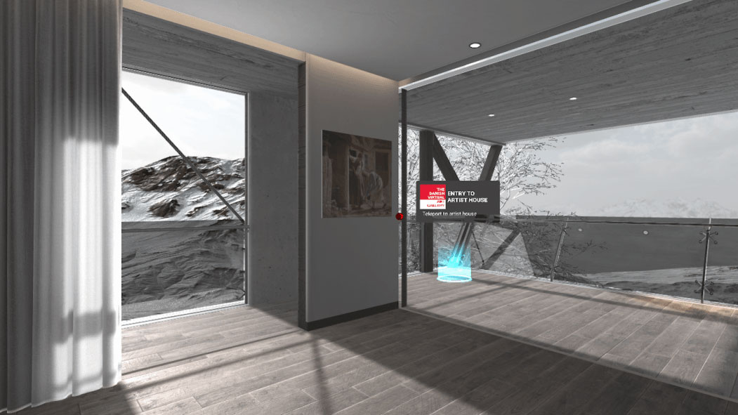 A screen shot of a virtual art gallery by Flat Earth Productions, Timo Polvinen.