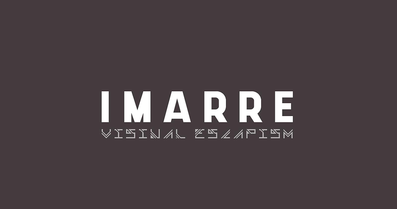 White logo on grey background, saying Imarre - Visual Escapism.