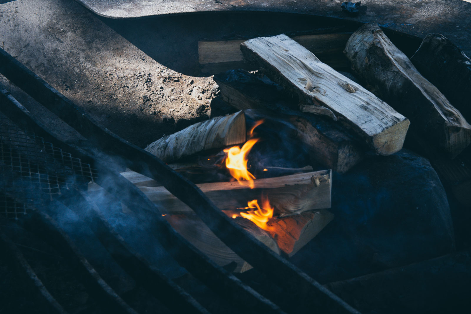 A moody fire in a grill.