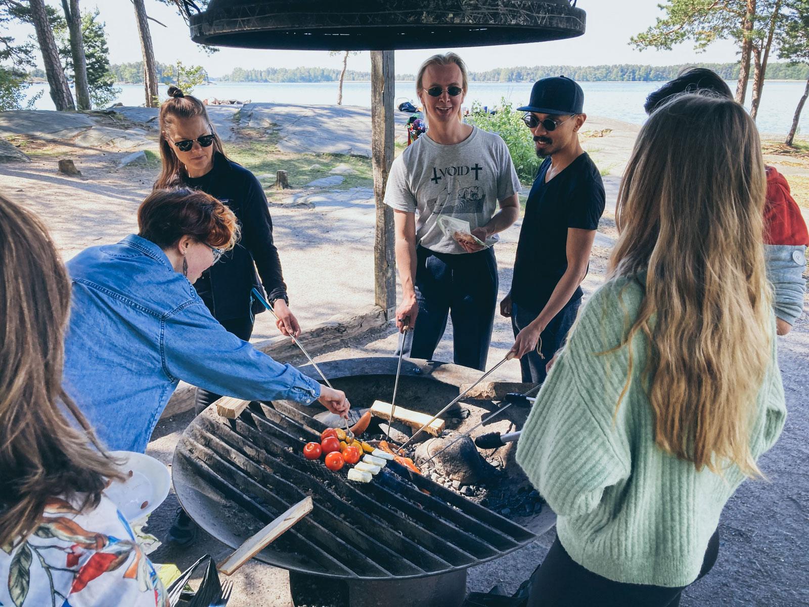 Helsinki XR Center team grilling.