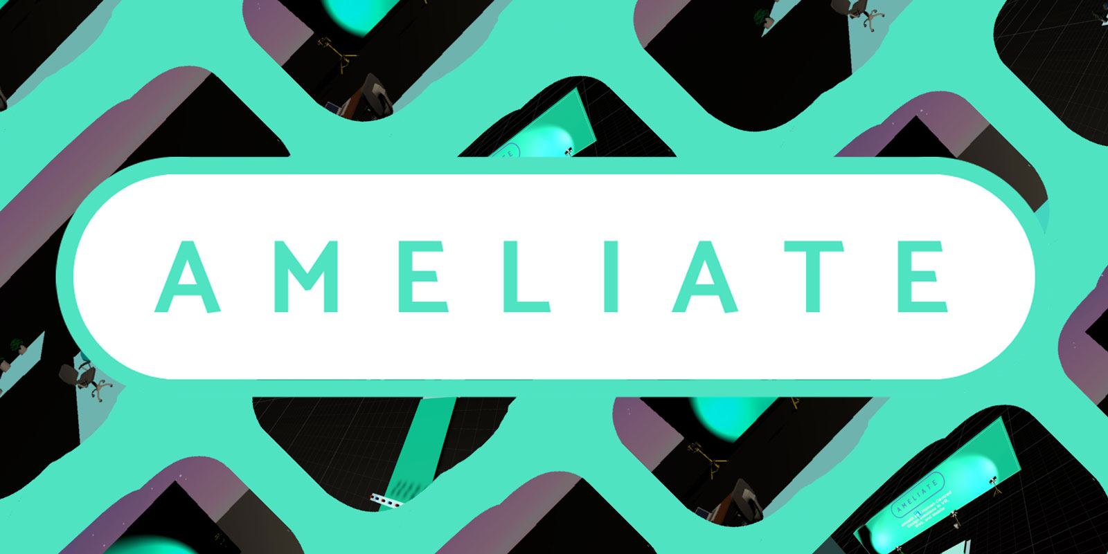 Ameliate logo over a VR background.