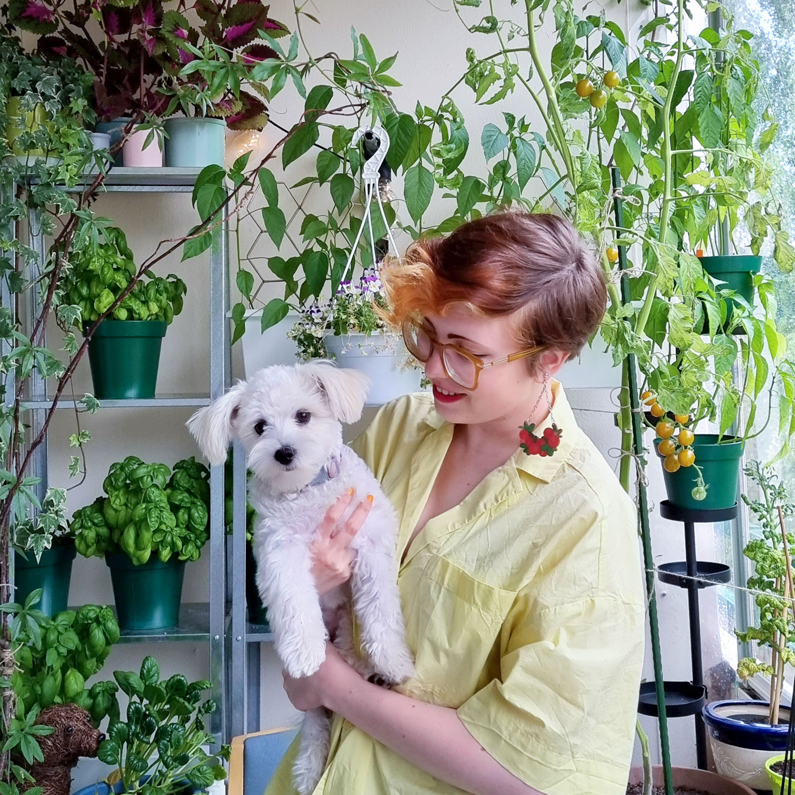 Kira Vesikko and their puppy, Pumpuli.