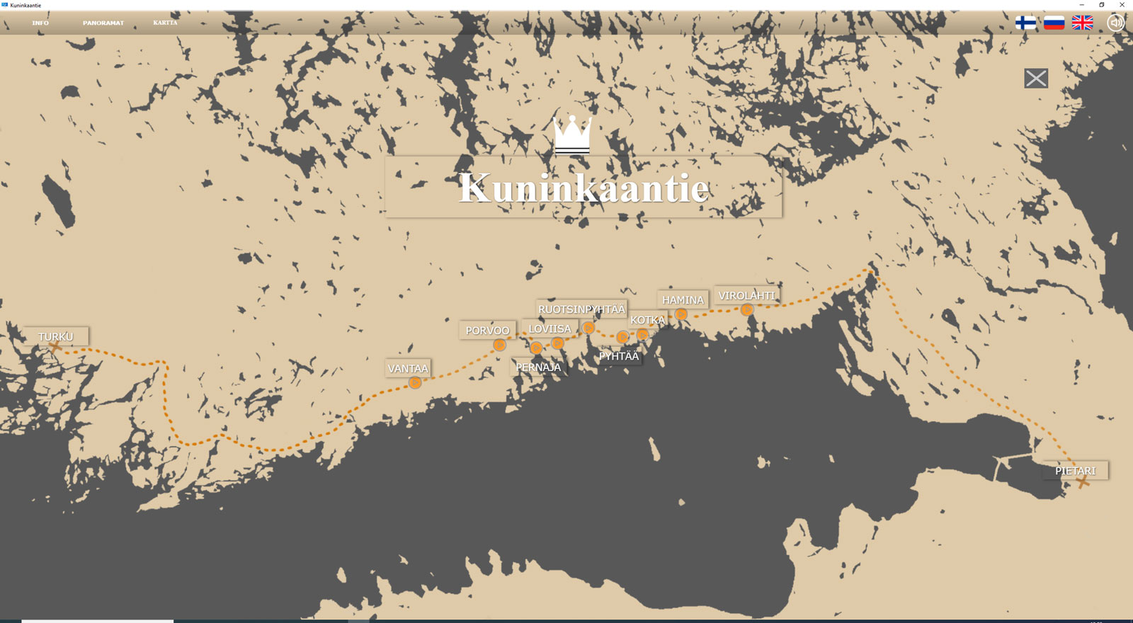 In-app illustration of a map of southern Finland. The King's Road stretches from Turku to St. Petersburg with other destinations along the way.