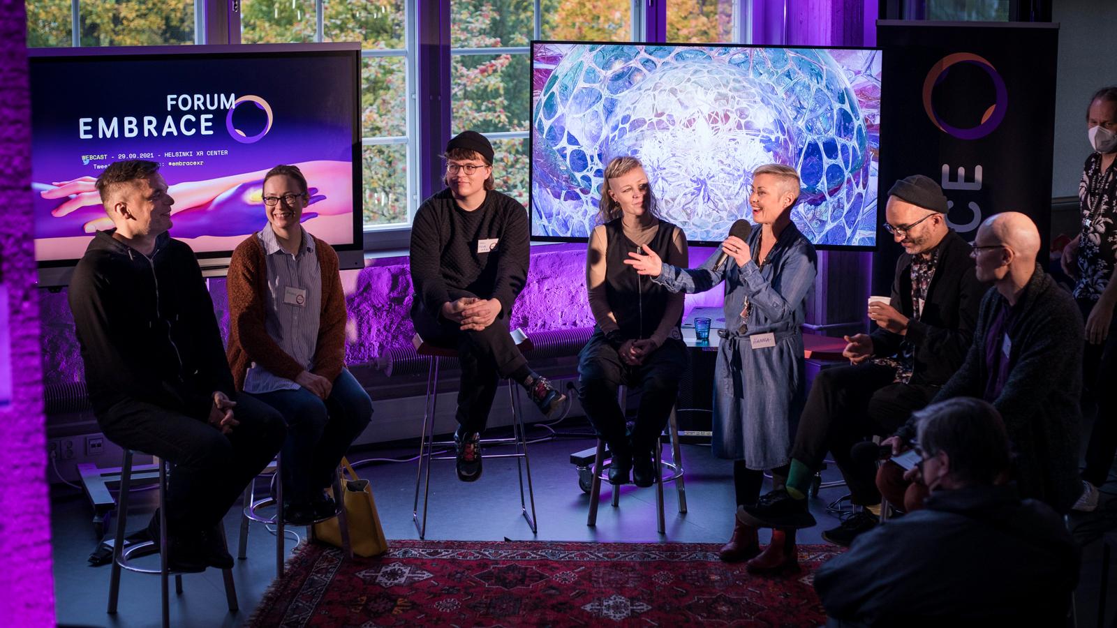 Panelists at Embrace Festival 2021. Photo: Lauri Tiainen.