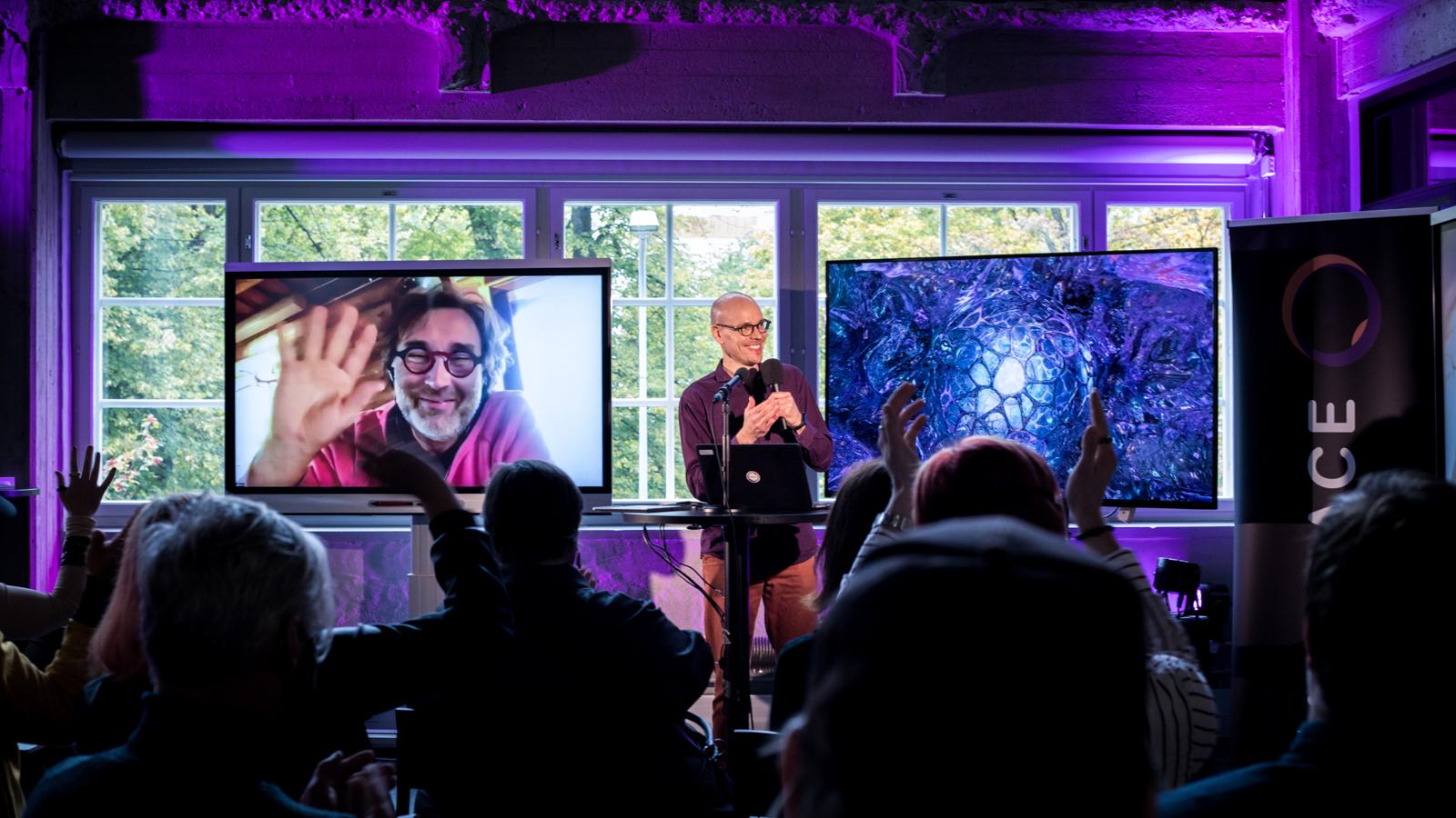 Erik Söderblom on a screen at Embrace Festival 2021. Photo: Lauri Tiainen.